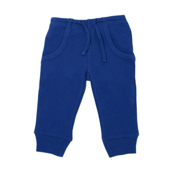 Loved Baby Bottoms 18-24 Months Kids Organic Thermal Waffle Jogger Pants  - Sapphire