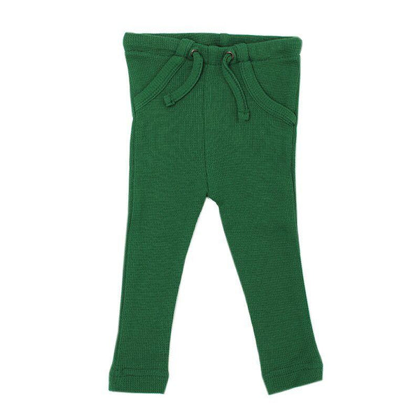 Loved Baby Bottoms 3-6 Months Baby's Organic Thermal Waffle Drawstring Pants  - Emerald
