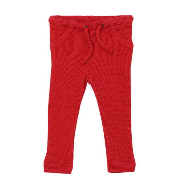 Loved Baby Bottoms 3-6 Months Baby's Organic Thermal Waffle Drawstring Pants  - Ruby