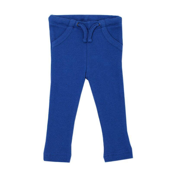 Loved Baby Bottoms 3-6 Months Baby's Organic Thermal Waffle Drawstring Pants  - Sapphire
