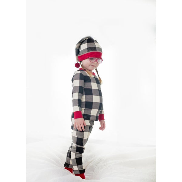 Loved Baby One Piece Christmas Kids PJ and Cap Set - Buffalo Check