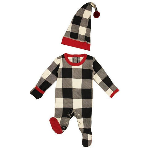Loved Baby One Piece Christmas Overall and Cap Set - Buffalo Check
