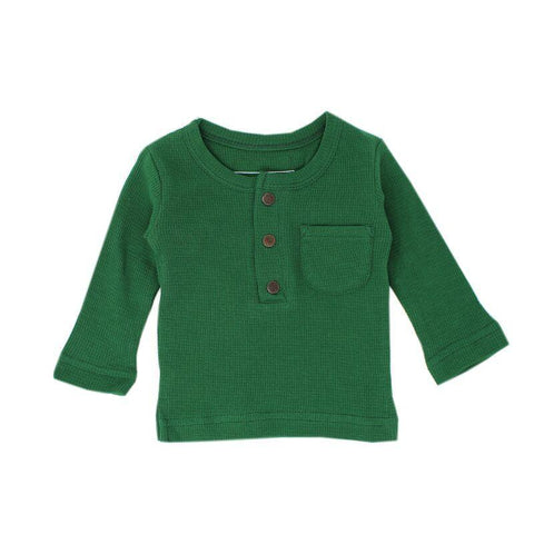 Loved Baby Tops 18-24 Months Kids Organic Thermal Waffle Top  - Emerald