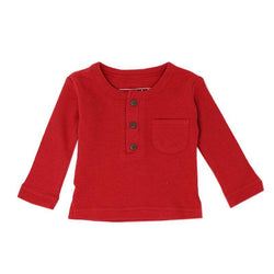 Loved Baby Tops 18-24 Months Kids Organic Thermal Waffle Top  - RUBY