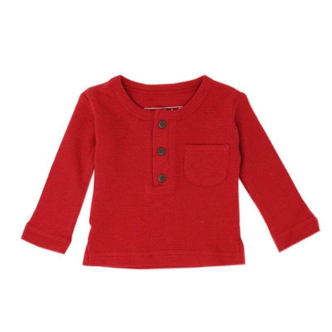 Loved Baby Tops 3-6 Months Baby's Organic Thermal Waffle Top  - Ruby