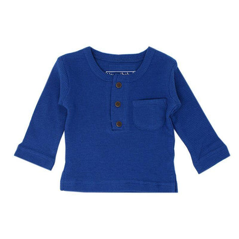Loved Baby Tops 3-6 Months Baby's Organic Thermal Waffle Top  - Sapphire