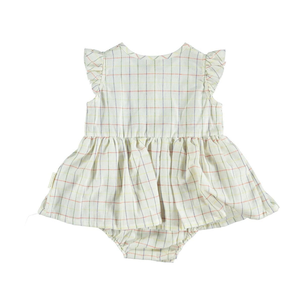 Piupiuchick Bottoms 3 Months Baby dress with body - Multicolored Checkered