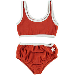 Piupiuchick Bottoms 4 Years Bikini - Red Terry Cotton