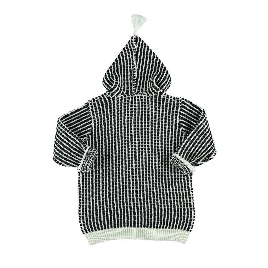 Piupiuchick Tops 3 Months Knitted Jacket - Black Squares
