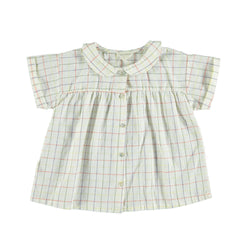 Piupiuchick Tops 3 Months Peter pan collar blouse - Multicolored Checkered