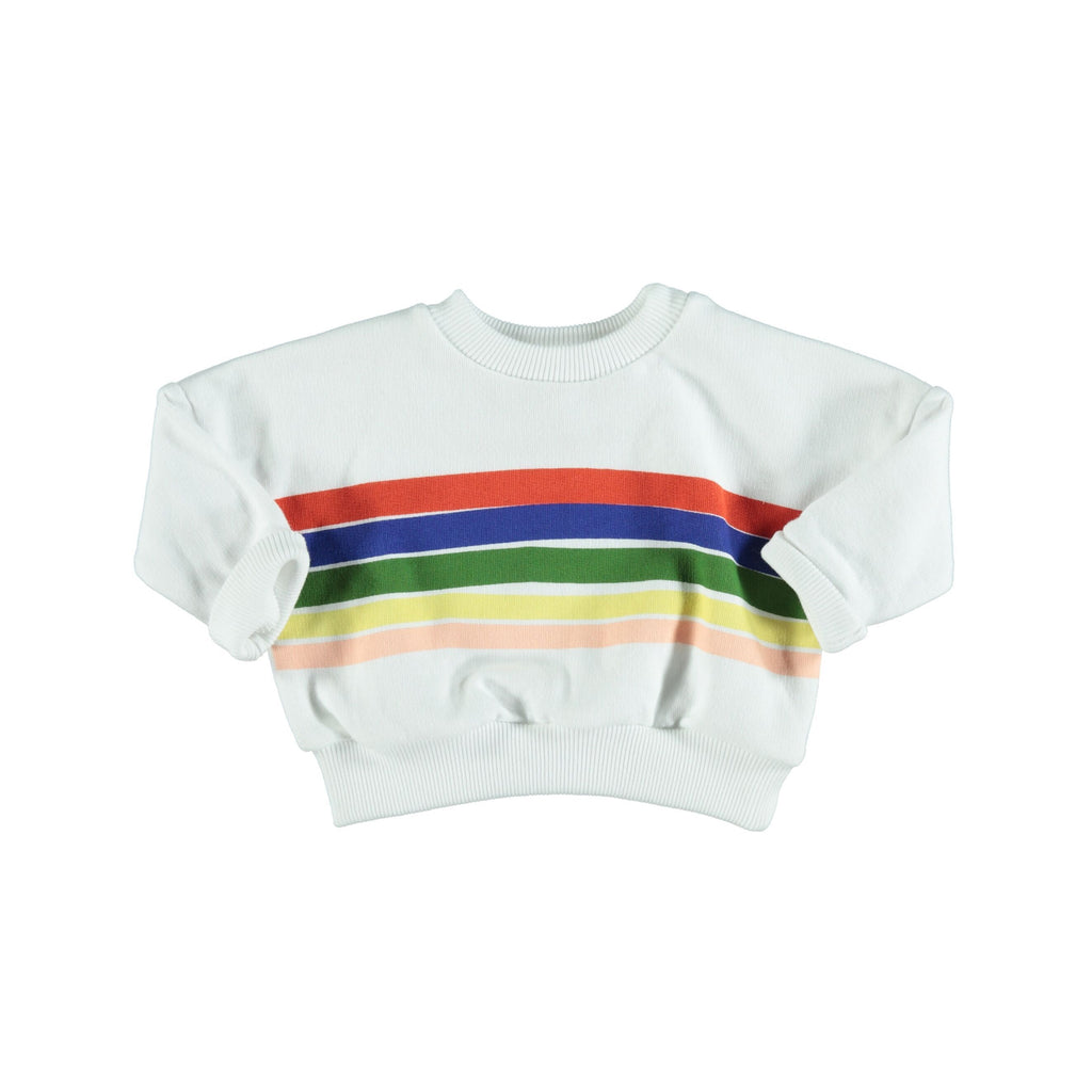 Piupiuchick Tops 3 Months Sweatshirt - White with Rainbow print