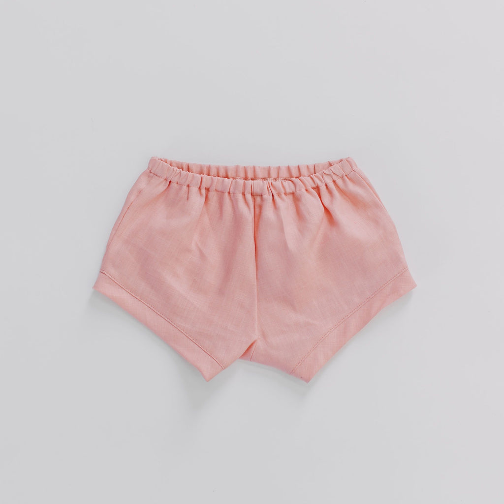 Velvet & Honey Bottoms Classic Collection - Linen Ease Shorts - Rose Pink