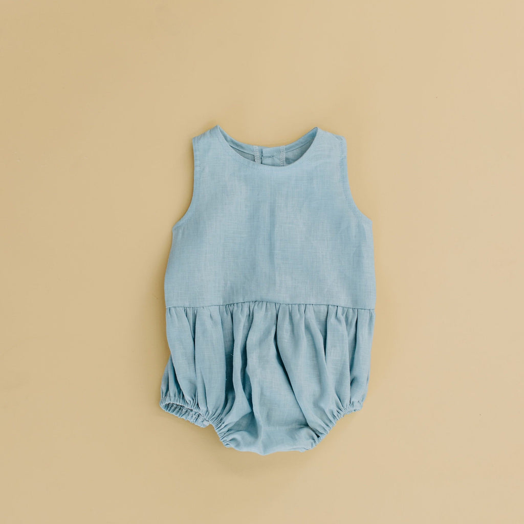 Velvet & Honey One Piece Classic Collection - Linen Romper - Blue