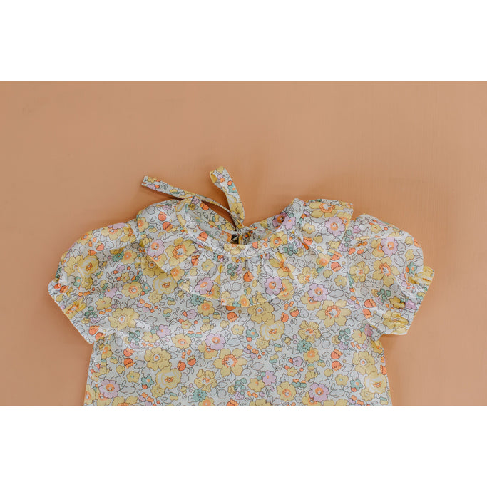 Velvet & Honey Tops Classic Collection - Liberty Frill Blouse - Yellow