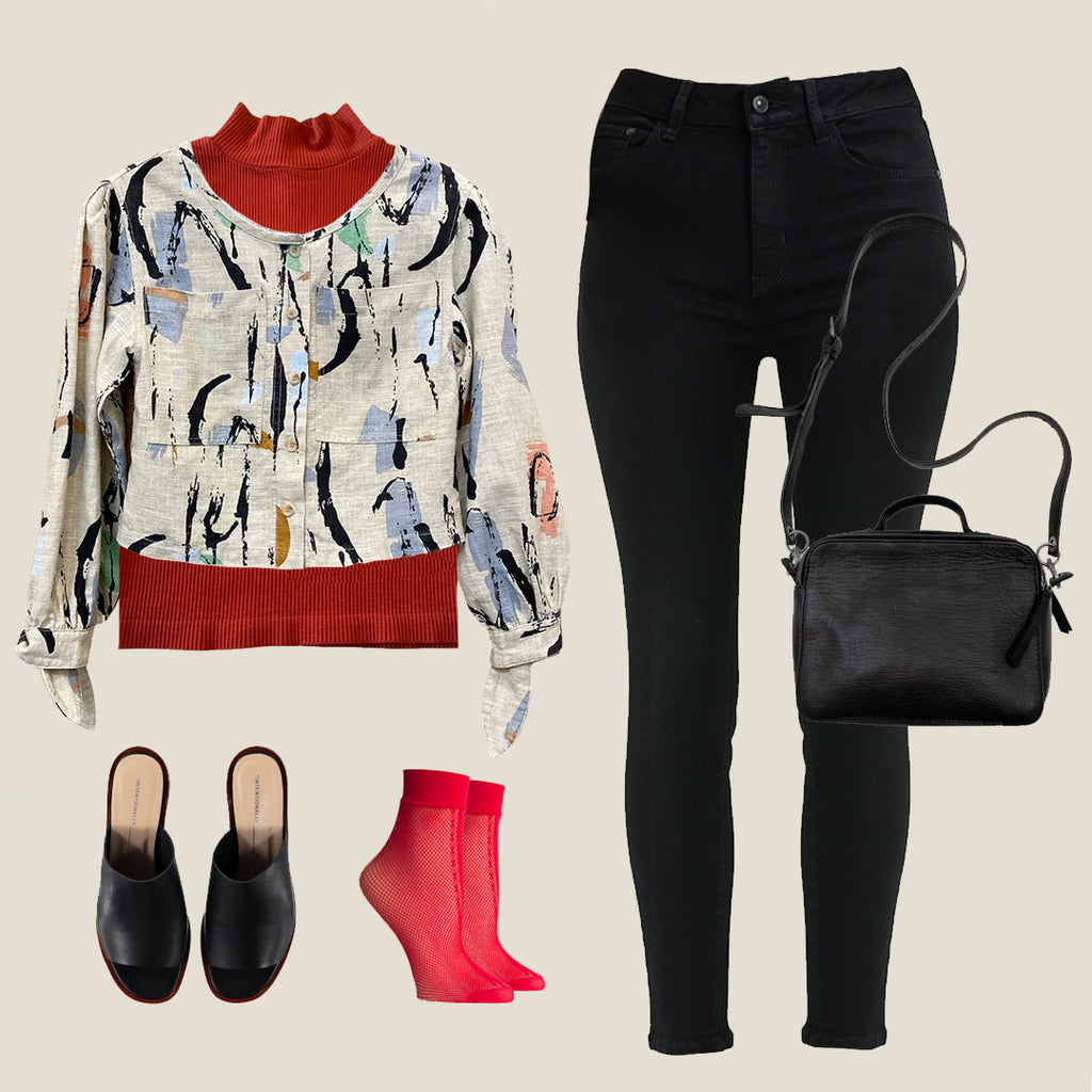 jacket, top, skinny jeans, leather purse, mules