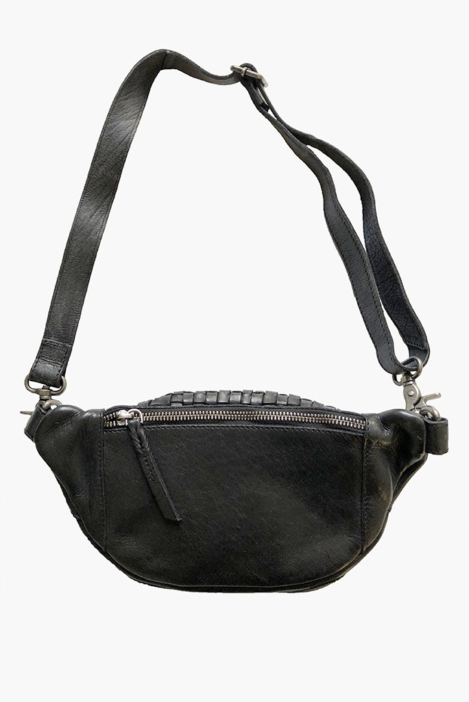 Woven Leather Hipster Crossbody Bag, 2 Colors