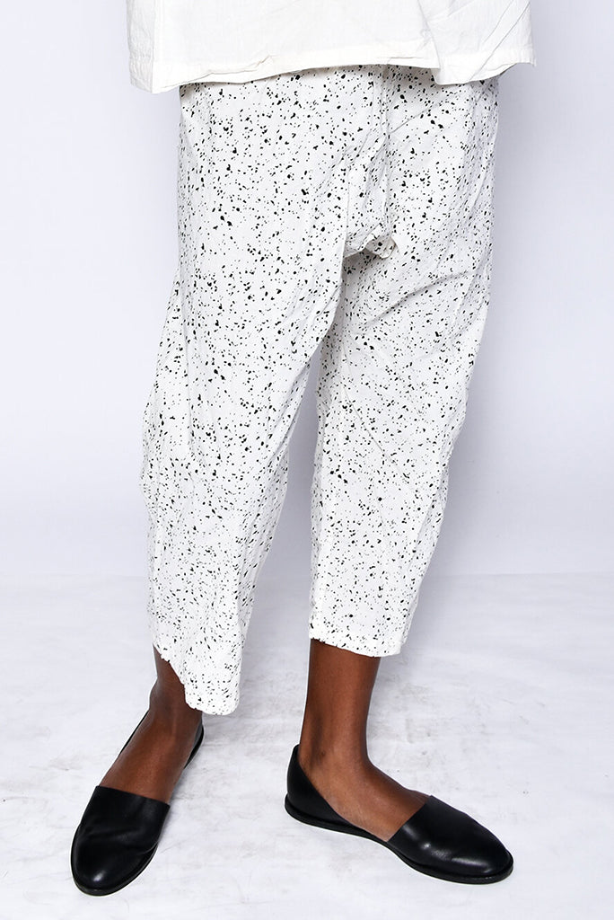 UZI Drop Crotch Pant, Splatter/Cream
