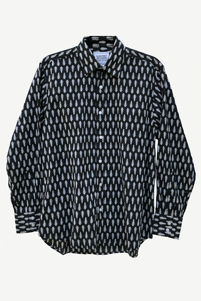Barrington Hand Printed Shirt, Black/White