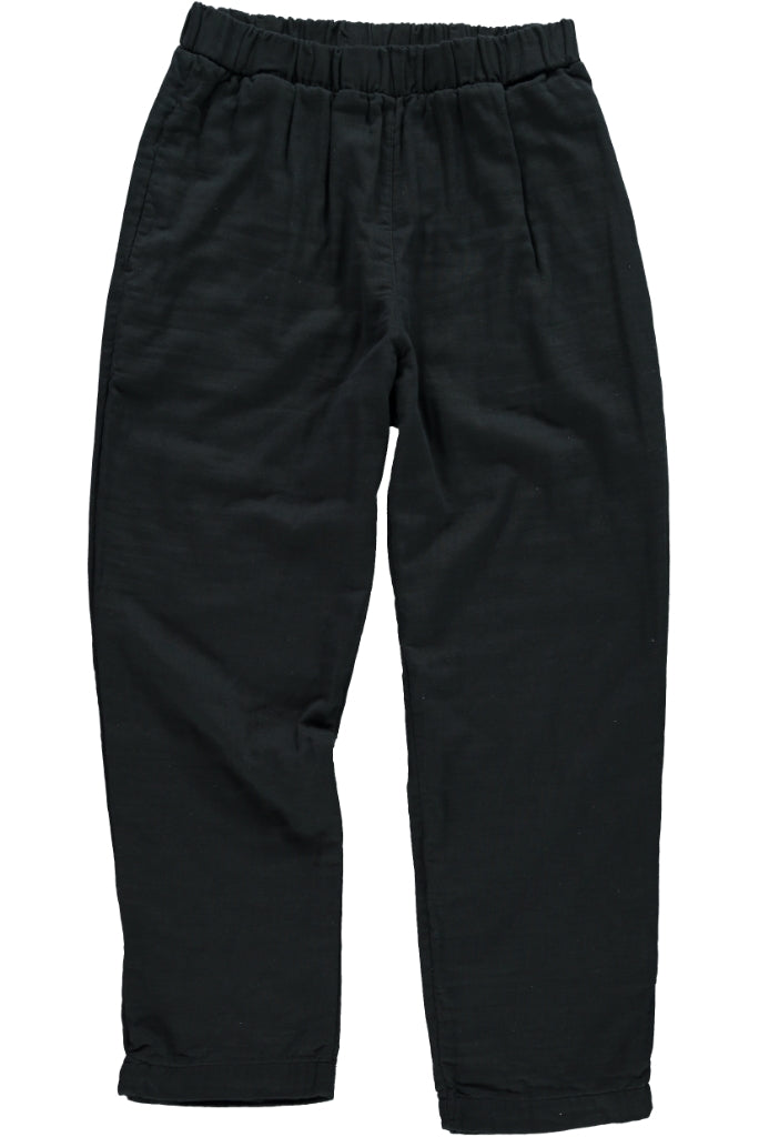 Organic Gauze Cotton Mens Pull On Pants, Black