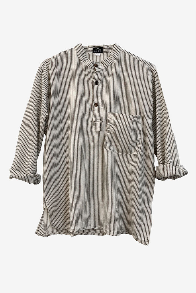 Kurta Shirt, White/Black Stripe