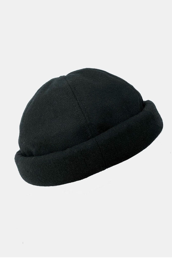 MELTON WOOL BEANIE, BLACK