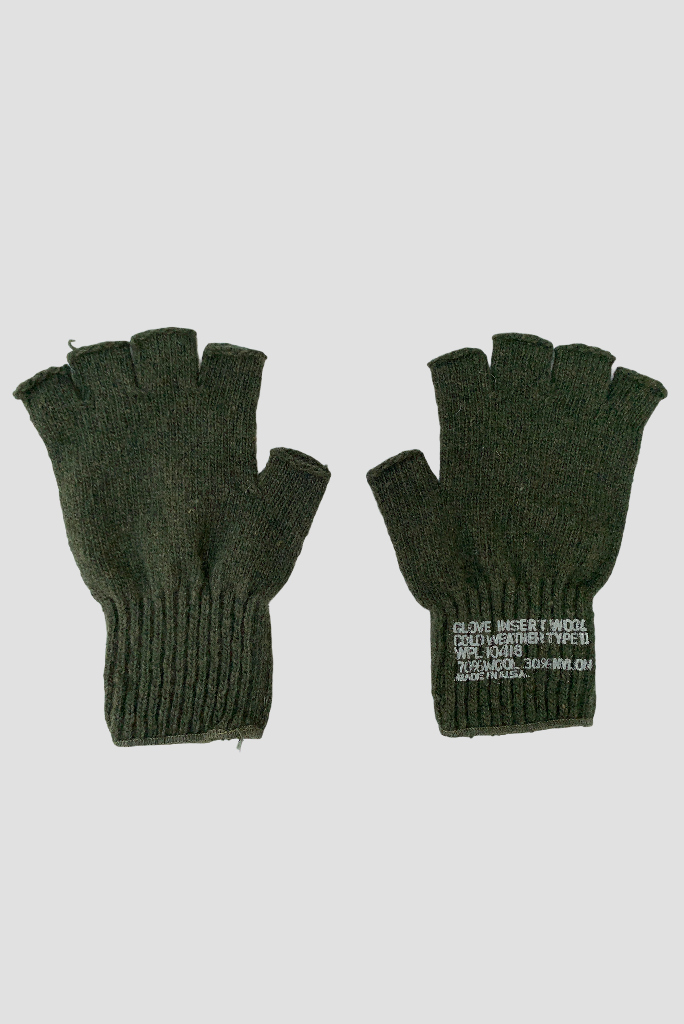 MILITARY FINGERLESS GLOVES WOOL, BLACK OR OLIVE