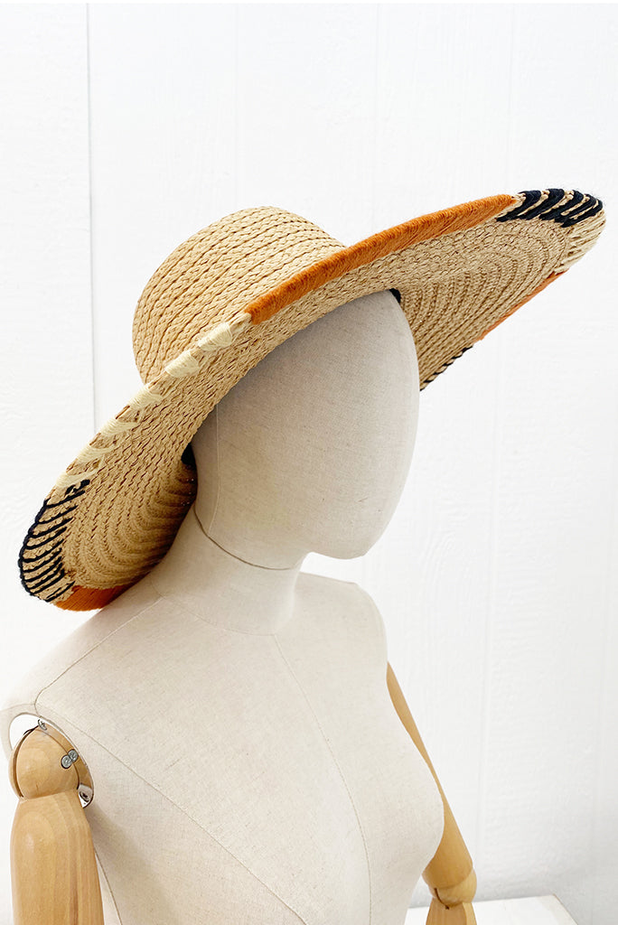 Toko Wide Brim Hat, Orange/Black Stitch
