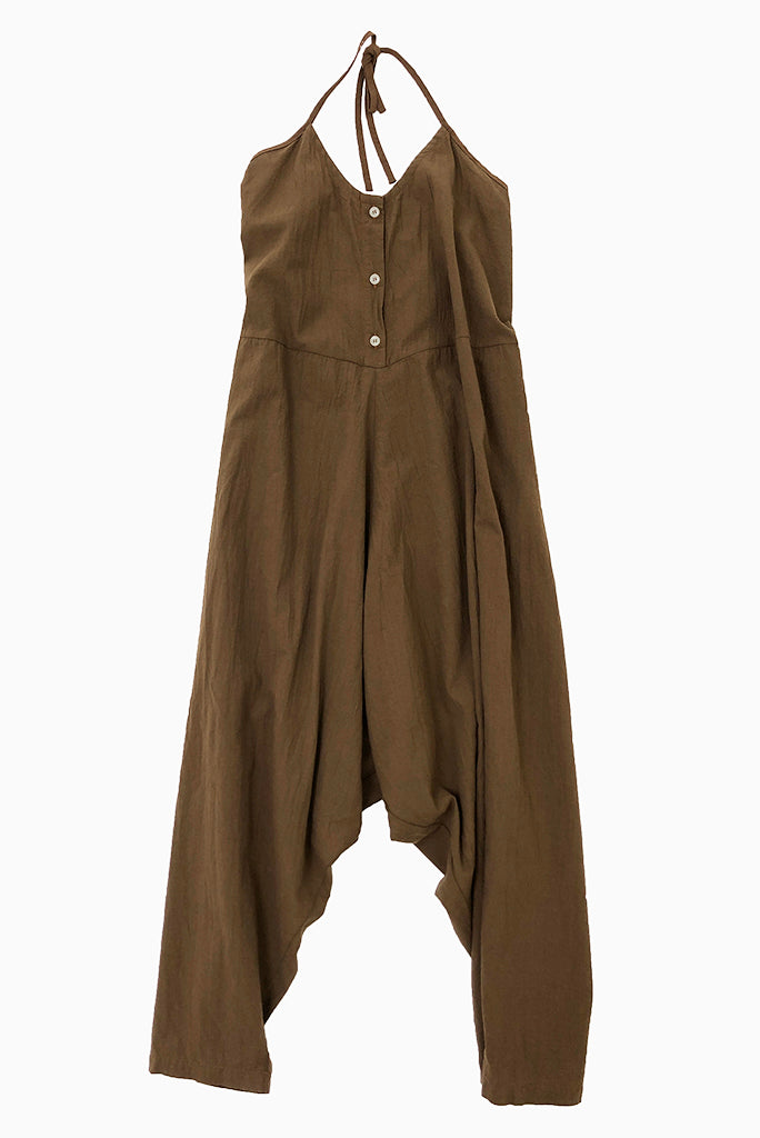 Shop this brown halter jumpsuit from UZI at the ALTER online boutique and explore the rest of our curated designer fashion.