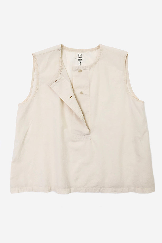 UZI Placket Top, Cream