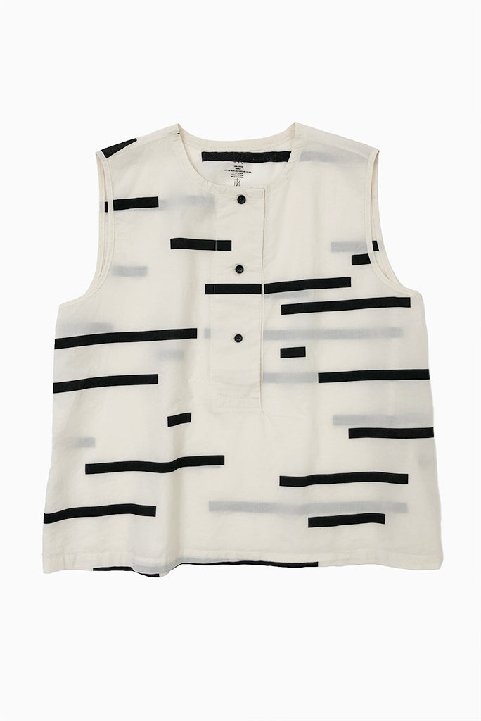 UZI Printed Placket Top, Broken Line/Cream
