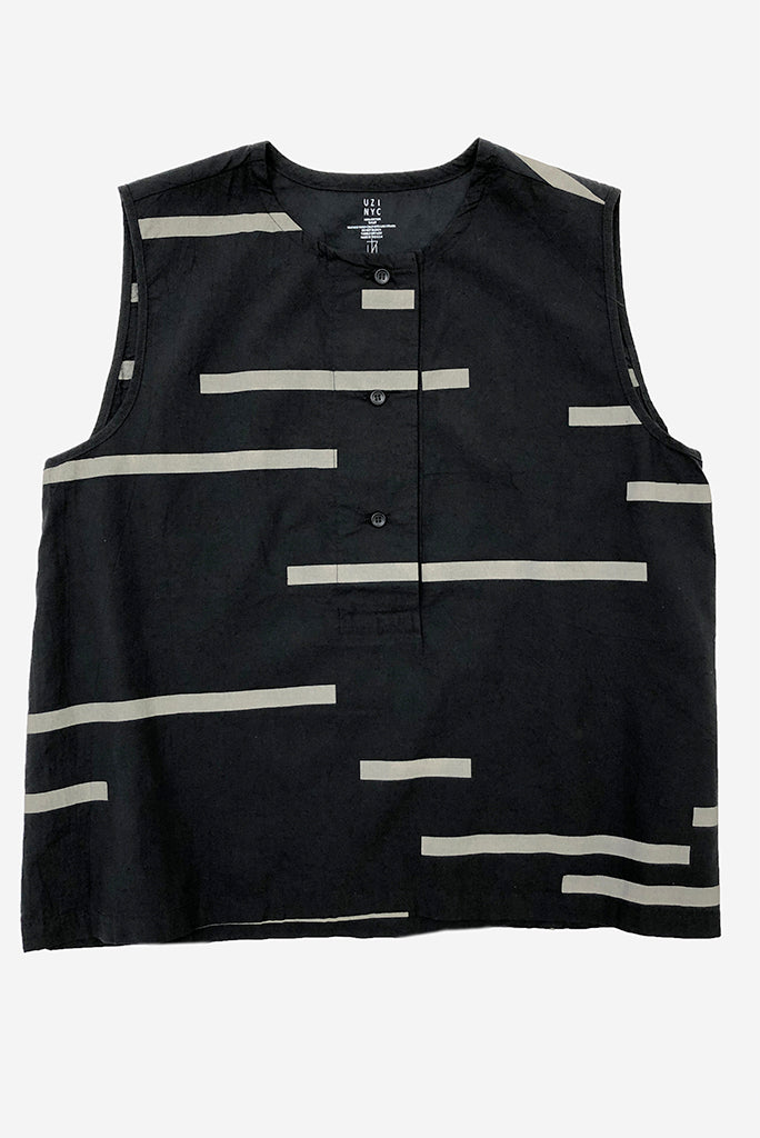 UZI Printed Placket Top, Broken Line/Black