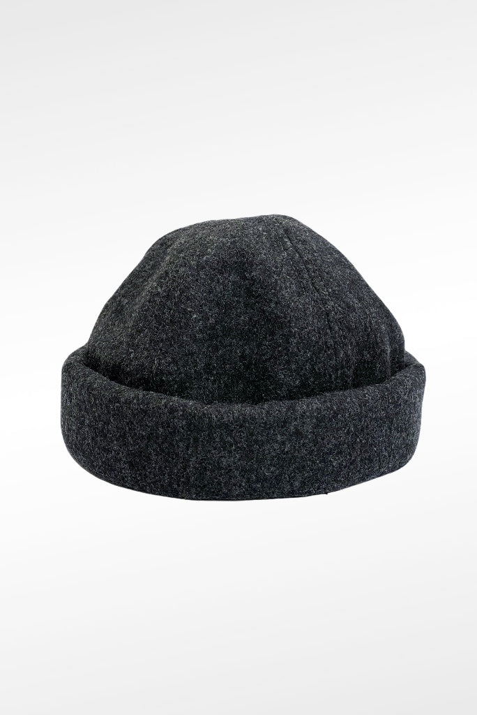 MELTON WOOL BEANIE, CHARCOAL