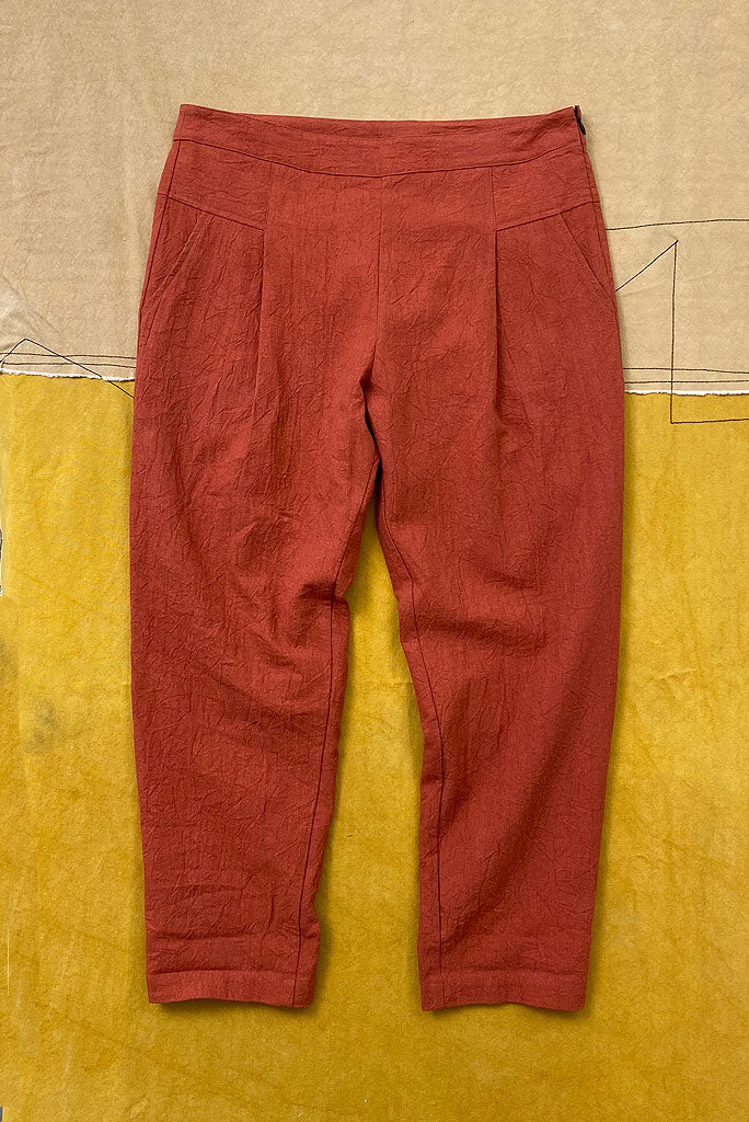 PURPLE MAROON SIGNATURE ANKLE TROUSER, CHILLI