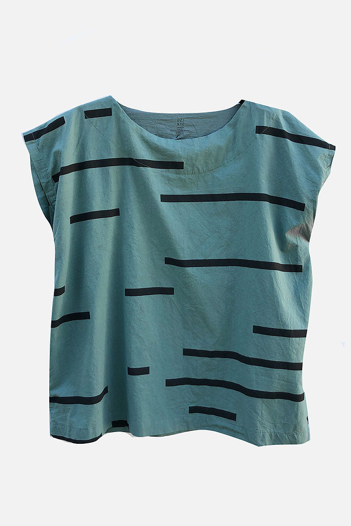 UZI TUNIC TOP,  BROKEN LINE, TEAL