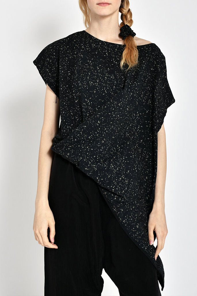 A/Wave Tunic Top, Black/Splat