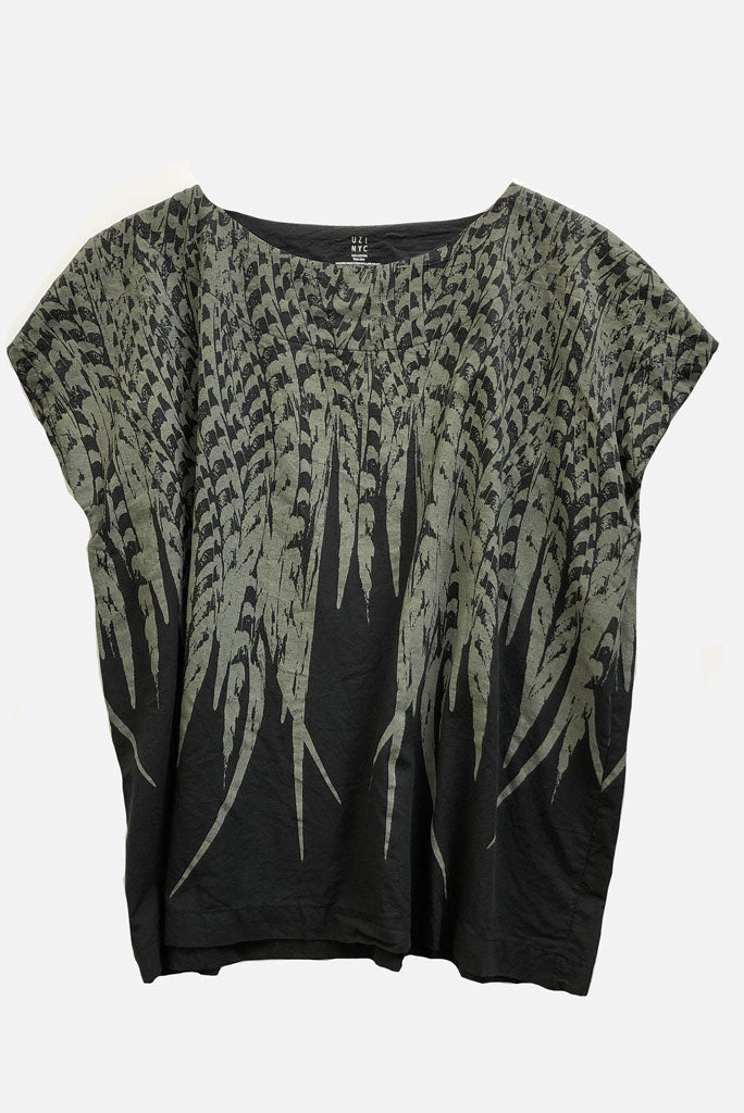 Uzi Tunic Top, Feather Print- 2 COLORS AVAILABLE