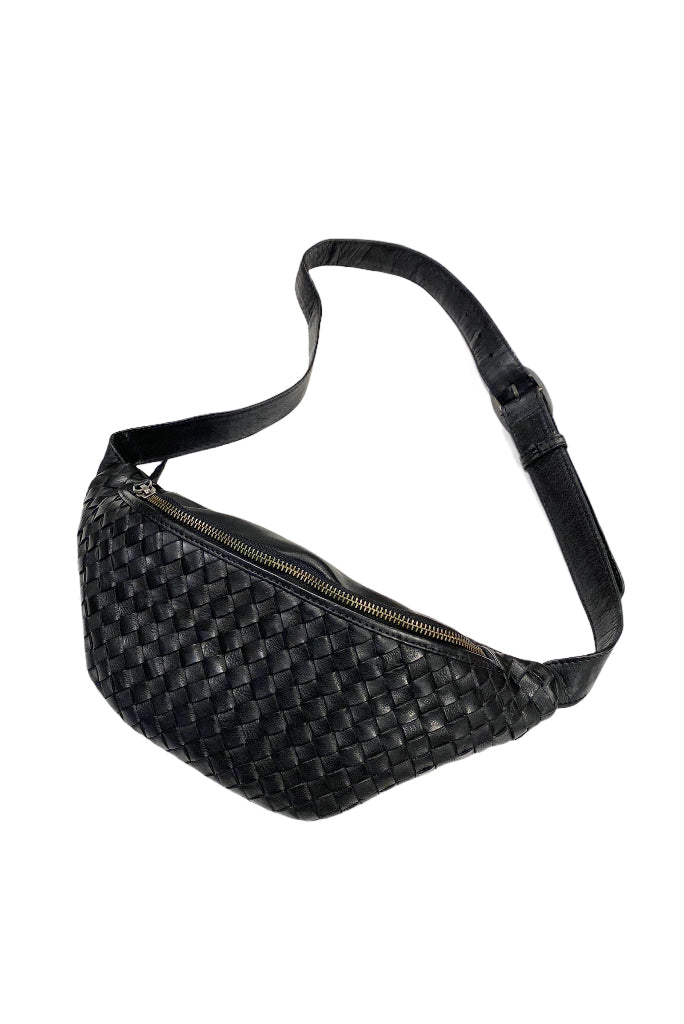 CNP NEW CROSS WOVEN FANNY PACK, BLACK