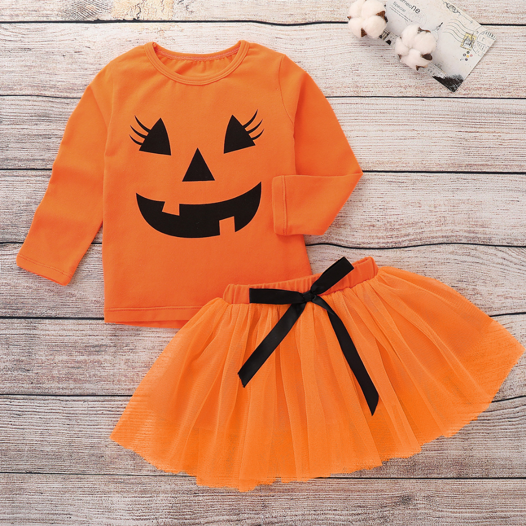 2-piece Baby / Toddler Halloween Style Blouse and Solid Tulle Skirt Set