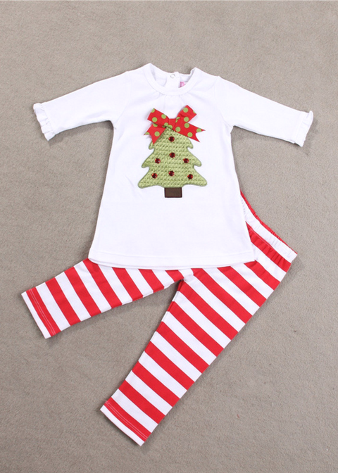 Girl Christmas tree Long sleeves 2 sets