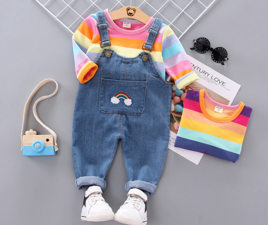 Baby&Toddler Overalls 2-piece Toddler Girl  long-sleeve Top and Overall Set