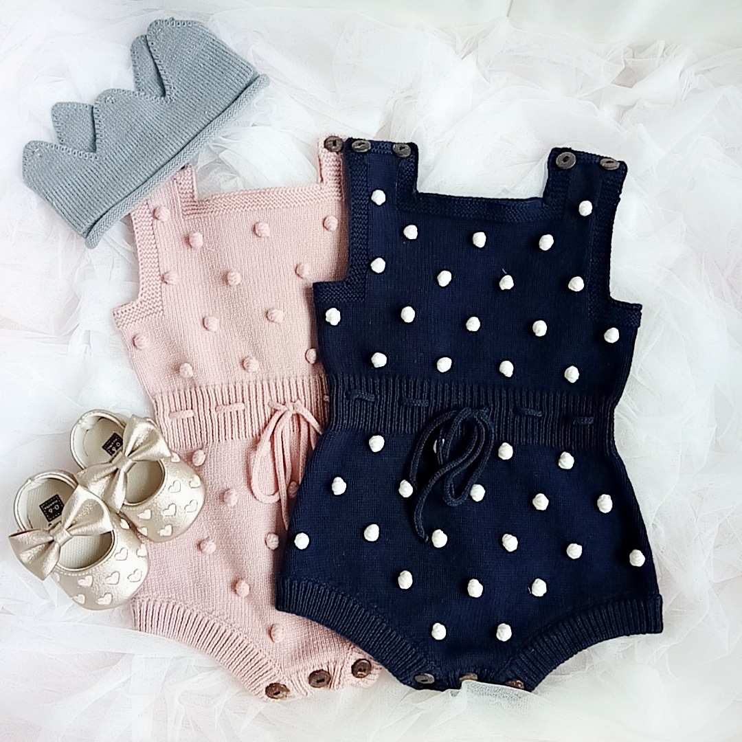 Baby pompom decor knitted rompers