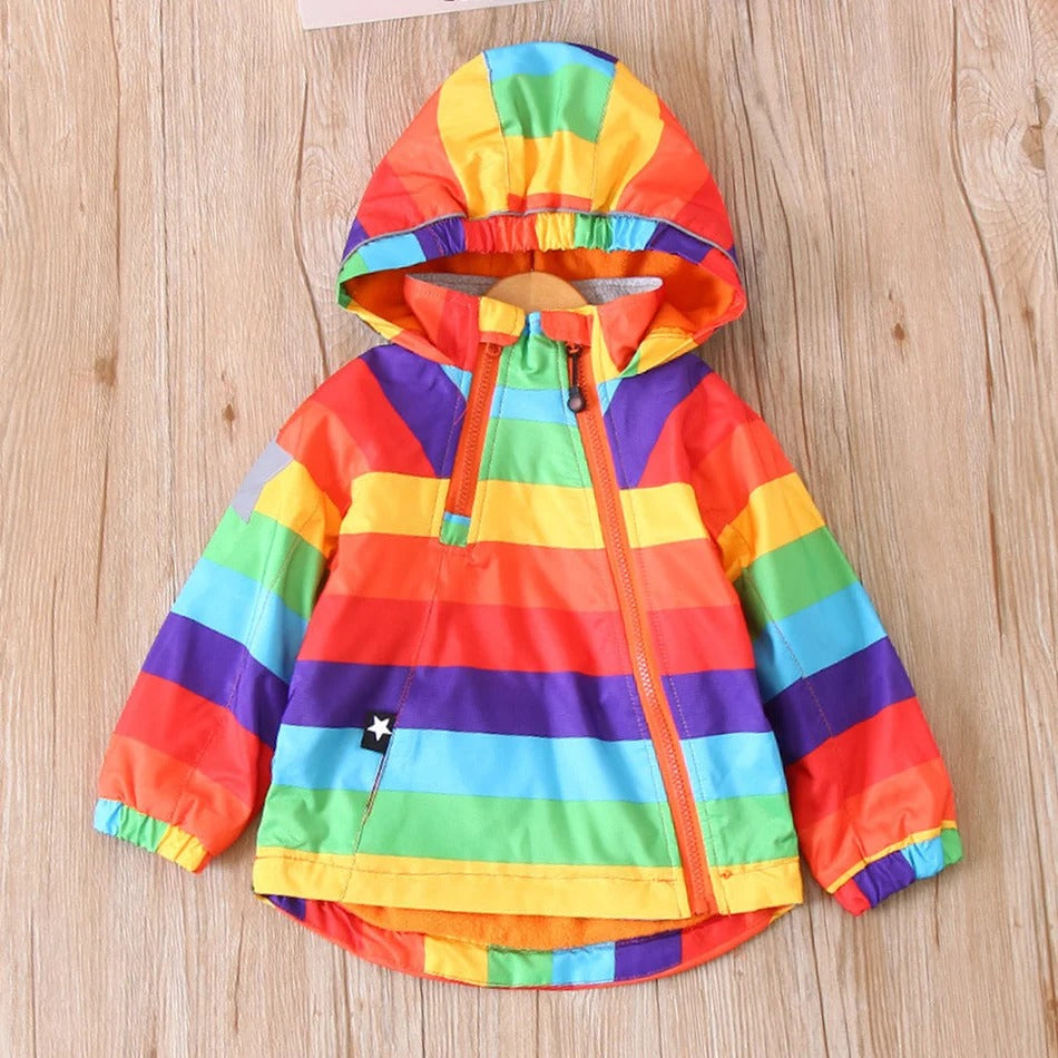Baby / Toddler Colorful Rainbow Print Hooded Windbreaker
