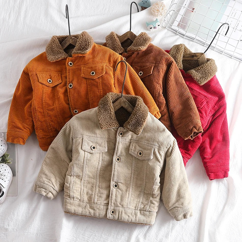 Baby / Toddler Solid Furry Collar Corduroy Jacket