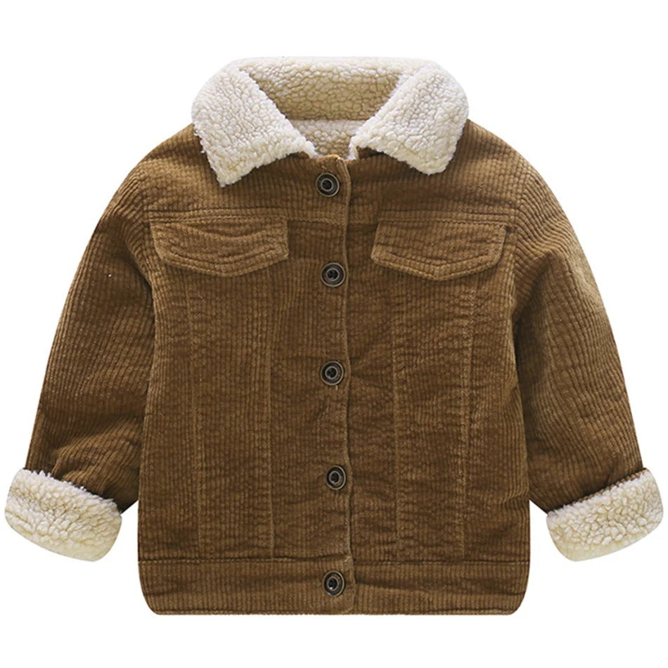Baby / Toddler Casual Solid Furry Collar Corduroy Jacket