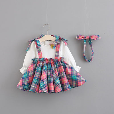 Cute Baby Flower Lattice Skirt Sete