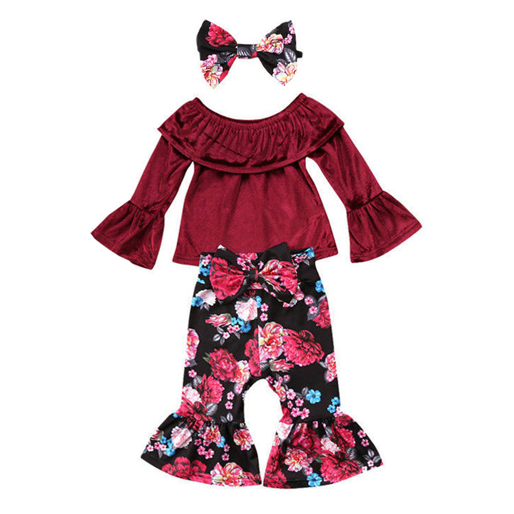 Baby retro flared pants 3pcs suit