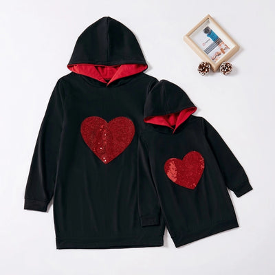 Sequined Love Print Hoodies for Mom and Me