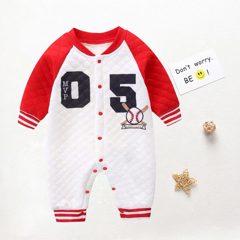 Baby Boy / Girl Newborn Cotton Number Print Long-sleeve Jumpsuit
