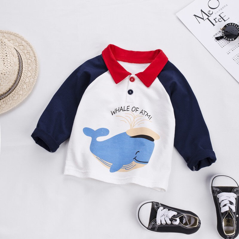 Baby Boy / Girl Adorable Whale Print Colorblock Top (No shoes)