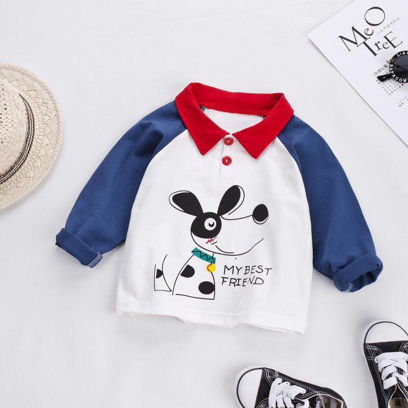 Baby Boy / Girl Lovely Doggy Print Colorblock Top